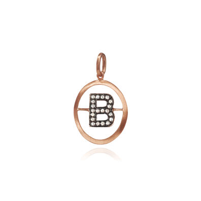 18ct Rose Gold Initial B Pendant