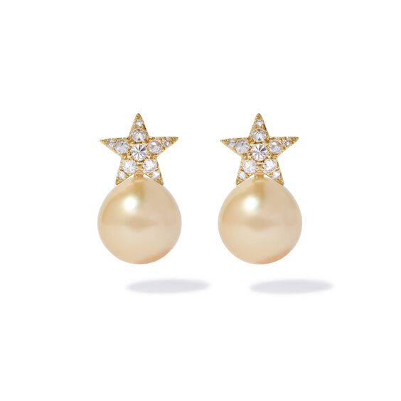 18ct Gold Diamond South Sea Pearl Star Earrings | Annoushka jewelley