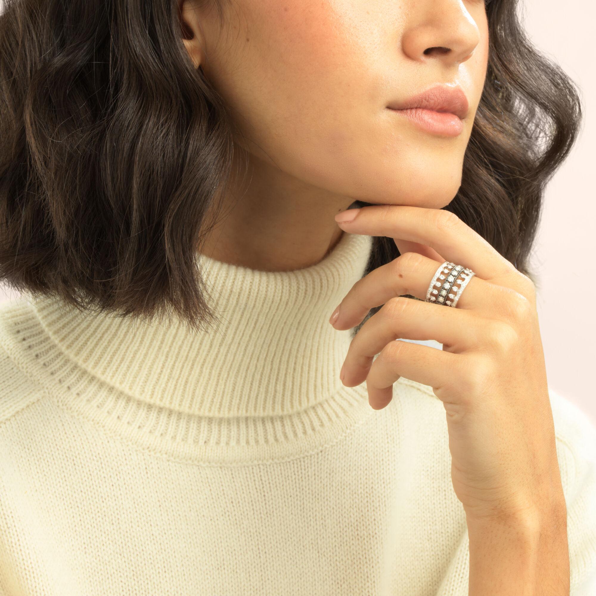 Crown Diamond Ring Stack In 18ct White Gold Annoushka Australia