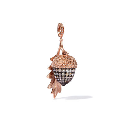 Mythology 18ct Rose Gold Diamond Acorn Seed Pendant