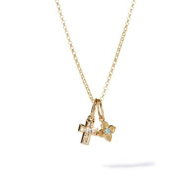 Tokens Aquamarine & White Sapphire Pendant Necklace