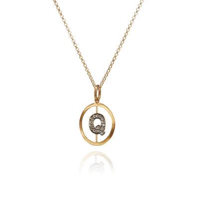 18ct Gold Diamond Initial Q Necklace