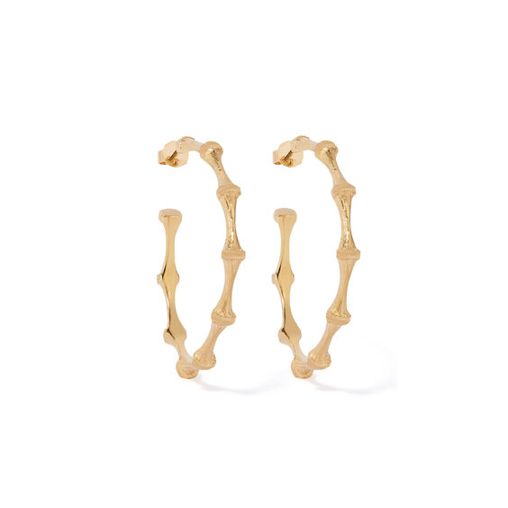Bamboo 18ct Gold Large Hoop Earrings | Annoushka jewelley