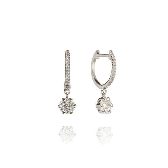 Daisy 18ct White Gold Diamond Hoop Earrings | Annoushka jewelley