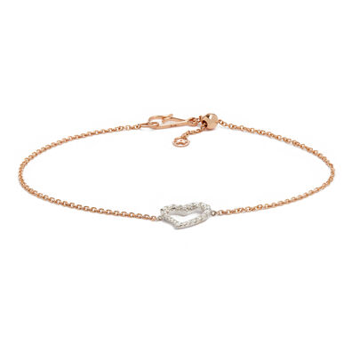 Love Diamonds 18ct Bi-Gold Diamond Heart Bracelet