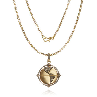 Mythology 18ct Gold Diamond Spinning Globe Necklace