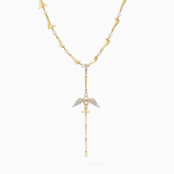 18ct Gold Pearl Diamond Lovebirds Drop Choker