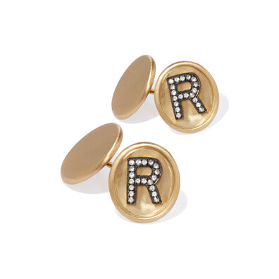 18ct Satin Gold Diamond Initial R Cufflinks