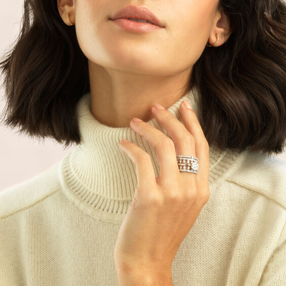 Daisy Pavilion Ring Stack in 18ct White Gold | Annoushka jewelley