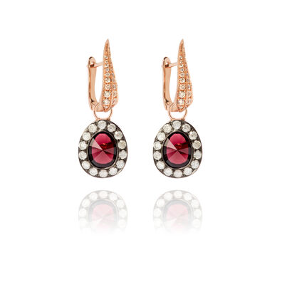Dusty Diamonds 18ct Rose Gold Rhodolite Garnet Earrings