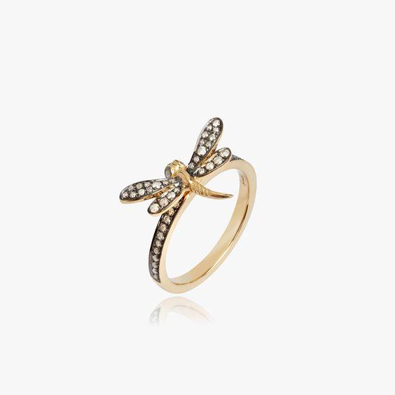 Love Diamonds 18ct Gold Diamond Dragonfly Ring | Annoushka jewelley