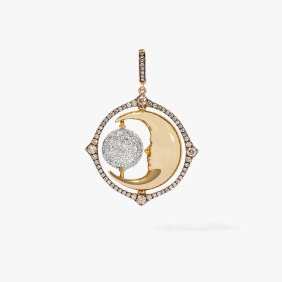 Mythology 18ct Gold Diamond Spinning Moon Charm | Annoushka jewelley
