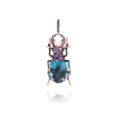 Mythology 18ct Rose Gold Blue Topaz Beetle Charm