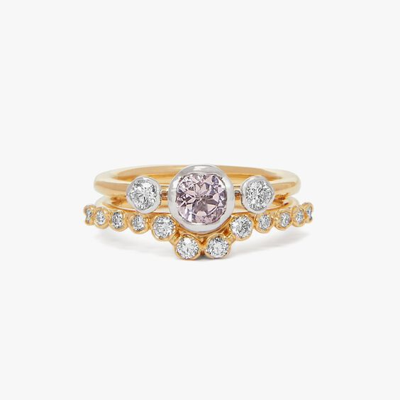 18ct Gold Morganite and Diamond Side Ring Stack