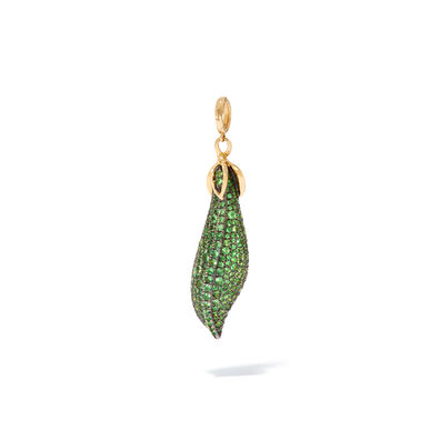 Mythology 18ct Gold Pearl Tsavorite Peapod Seed Charm