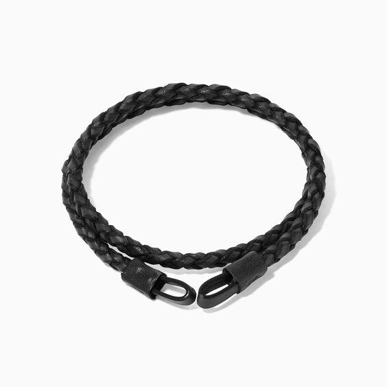 41cms Plaited Black Leather Bracelet | Annoushka jewelley
