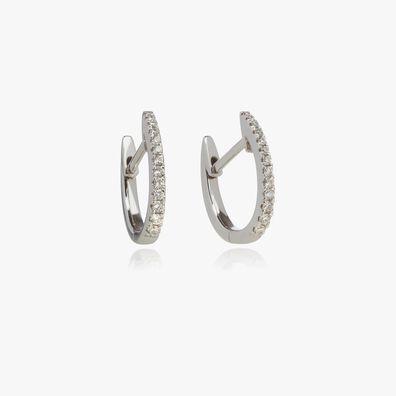 Eclipse 18ct White Gold Diamond Fine Hoop Earrings
