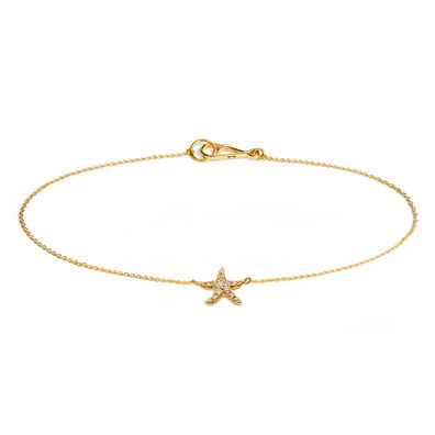 Love Diamonds 18ct Gold Diamond Starfish Bracelet