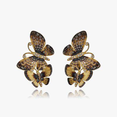 Butterflies 18ct Gold Diamond Duet Stud Earrings