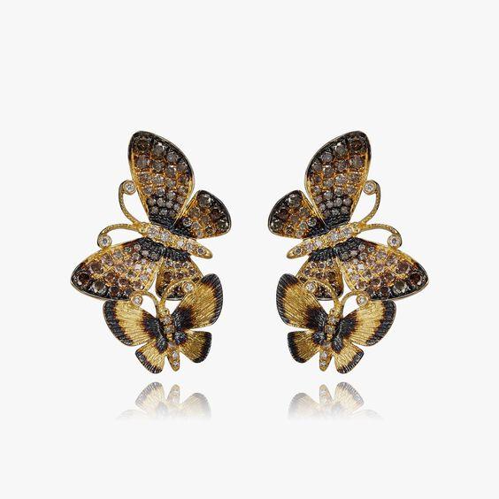 Butterflies 18ct Gold Diamond Duet Stud Earrings   Annoushka jewelley