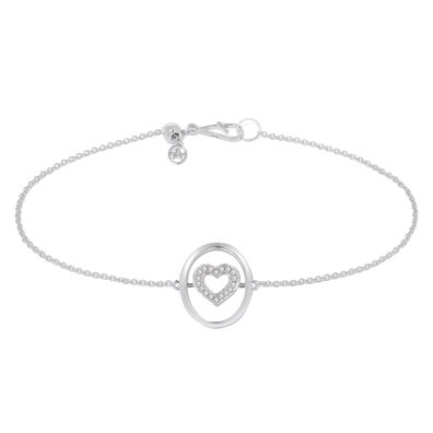 18ct White Gold Diamond Heart Bracelet