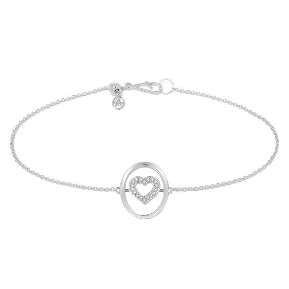 18ct White Gold Diamond Heart Bracelet | Annoushka jewelley