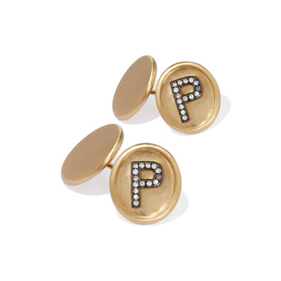 18ct Satin Gold Diamond Initial P Cufflinks