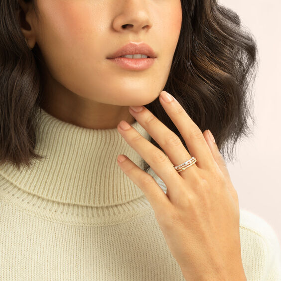 Pavilion Diamond Ring Stack In 18ct Mixed Golds   Annoushka jewelley