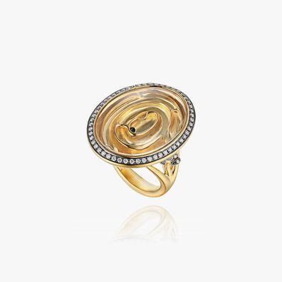 Garden Party 18ct Gold White Diamond Maze Ring
