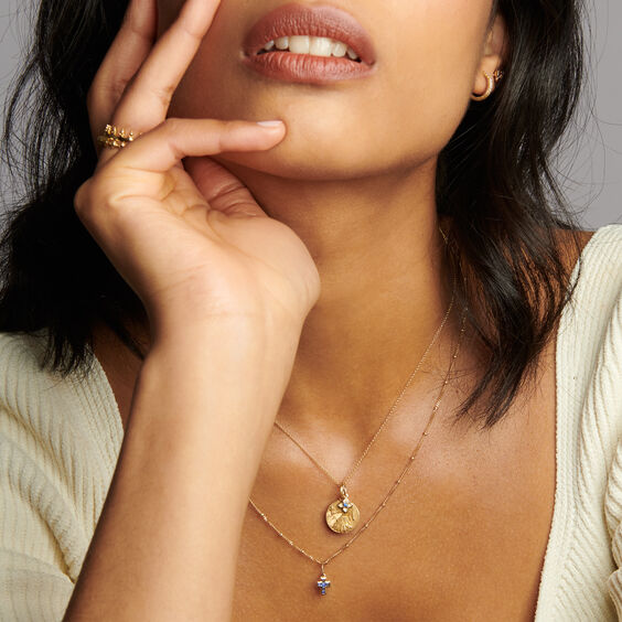 Gold Virgo & Sapphire September Birthstone Necklace