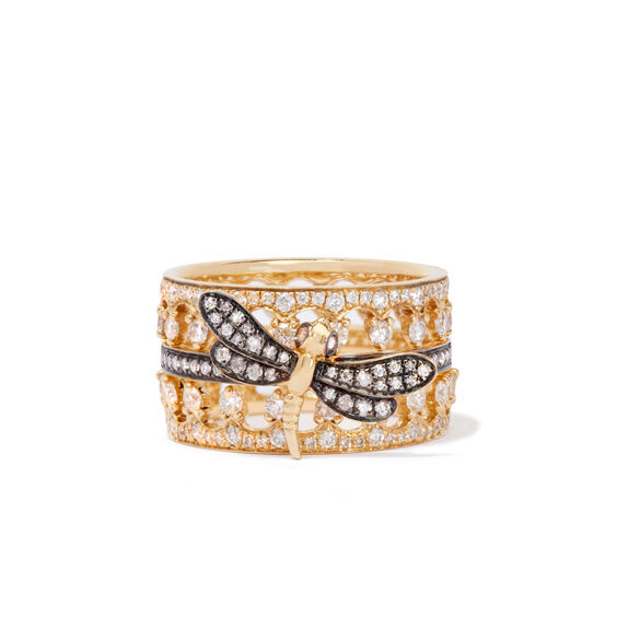 Dragonfly Crown Ring Stack 18ct Yellow Gold