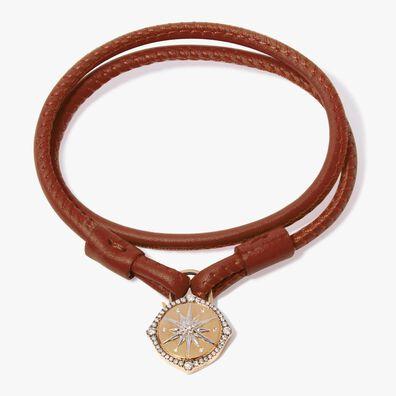 Lovelock 18ct Gold 41cms Brown Leather Star Charm Bracelet