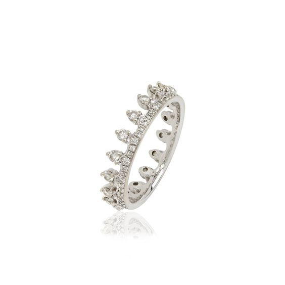 Crown 18ct White Gold Diamond Ring | Annoushka jewelley