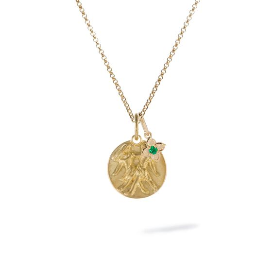Gold Gemini & Emerald May Birthstone Necklace | Annoushka jewelley