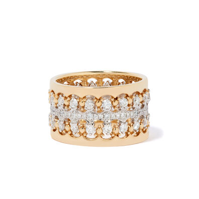 Crown Double Diamond Ring Stack in 18ct Mixed Golds