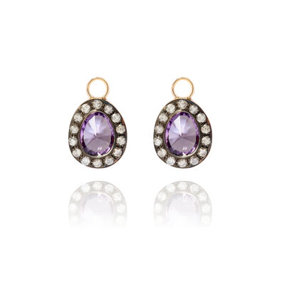 Dusty Diamonds 18ct Gold Amethyst Earring Drops