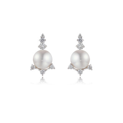 Diamonds & Pearls 18ct White Gold Studs: An Online Exclusive
