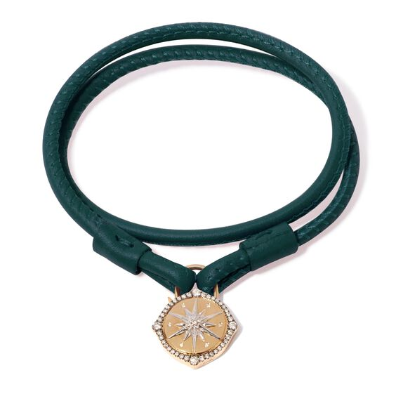 Lovelock 18ct Gold 41cms Green Leather Star Charm Bracelet | Annoushka jewelley