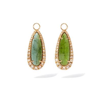 Unique 18ct Gold Tourmaline Diamond Earring Drops