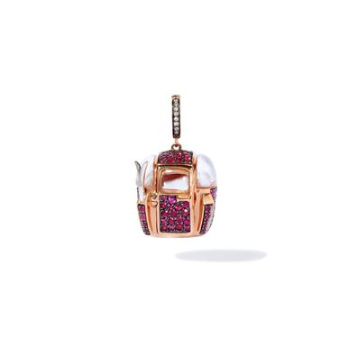 18ct Rose Gold Ruby Diamond Cable Car Charm