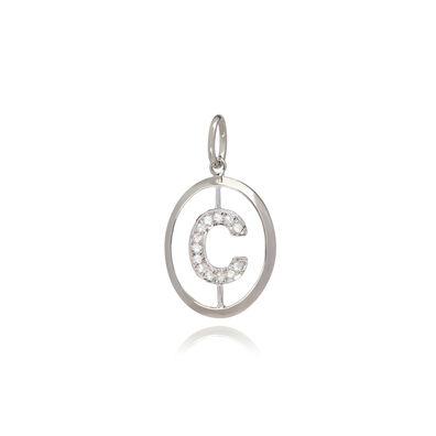 18ct White Gold Initial C Pendant