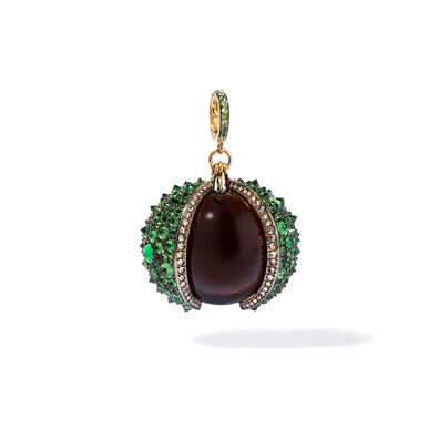 Mythology 18ct Gold Smoky Quartz Conker Seed Pendant