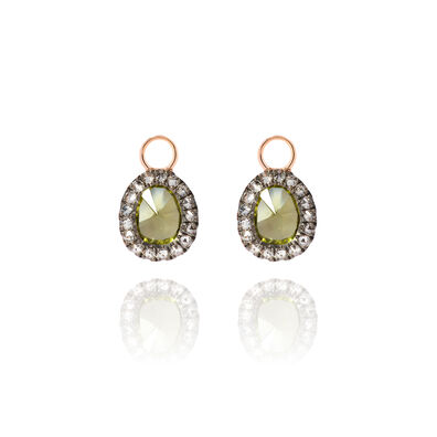 Dusty Diamonds 18ct Rose Gold Peridot Mini Earring Drops