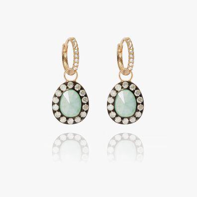 Dusty Diamonds 18ct Gold Jade Earrings