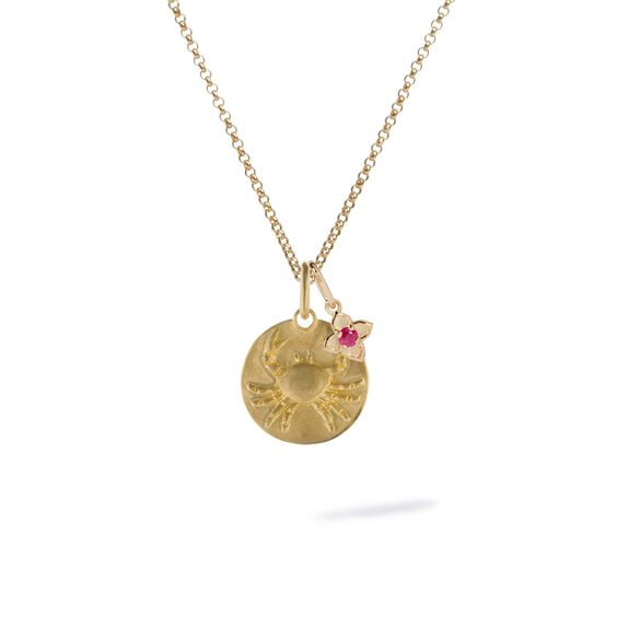 Gold Cancer & Ruby July Birthstone Necklace | Annoushka jewelley