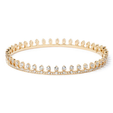 Crown 18ct Gold Diamond Bangle