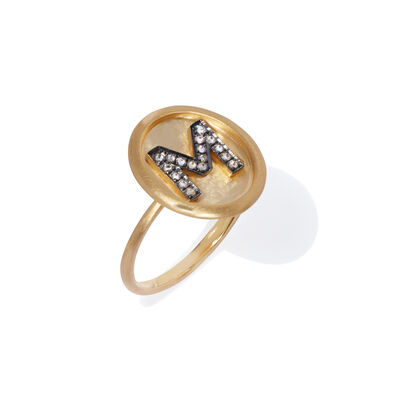 18ct Gold Diamond Initial M Ring