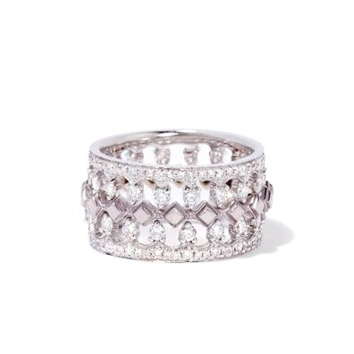 Stepping Stone 18ct White Gold Crown Ring Stack