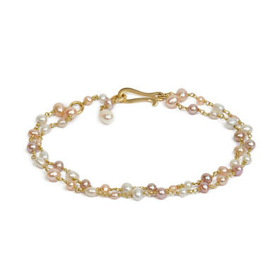 18ct Gold Seed Pearl Bracelet Chain