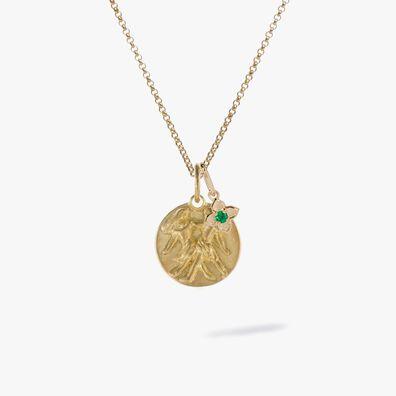 Gold Gemini & Emerald May Birthstone Necklace